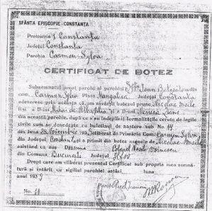 certificat de botez