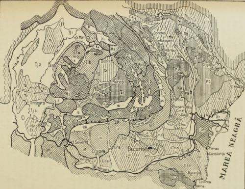 (p.19) [Fig. 2. Relieful României. Se văd, în zona munţilor, depresiunile - dintre care cele mai multe adăposteau în vechime câte o ţară. Petele albe din preajma munţilor reprezintă, pe această hartă, tocmai ţările acestea. Ţara Haţegului e numerotată: 13. (d. Vintilă Mihăilescu)]